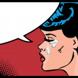 Vector illustration of a crying woman in a pop art comic style. — Stock Vector #17689791