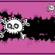 Very cute Skull place card with place for copy text — Imagen vectorial