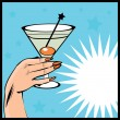 Vintage background Cocktail with hand - pop art comic style - Imagen vectorial