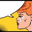 Vector illustration of a crying woman in a pop art comic style. — Stock Vector #17689957