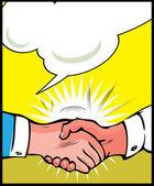 Vintage Pop art handshake background — Stock Vector