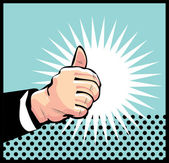 Thumb Up Retro business icon illustration pop art style — Stock Vector