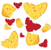 I love cheese seamless background — Stock Vector