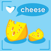 Pieces Of Cheese. love Cheese card — Stock Vector