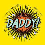 Father's day boom cartoon stamp with text daddy! inside,vector illustration — Vetorial Stock