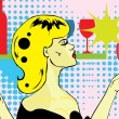 Popart comics Beautiful woman with a wine glass — Stock Vector