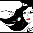 Vintage Headshot of a young and angry woman on background. Angry woman. Pop art comic style — Stock Vector