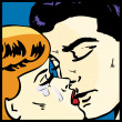 Popart comic Love Vector illustration of a kissing couple love passion kiss — Stockvektor