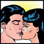 Popart 漫画爱情矢量插画的接吻情侣爱的激情之吻 — 图库矢量图片