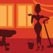 Silhouette Woman doing housework on room background - retro post — Stock Photo #24202307