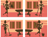 Silhouette Helpful Housewife background — Stock Photo