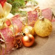 Stock Photo: Gift box with christmas decorations