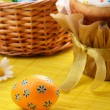 Easter eggs, cake, basket — Stock Photo