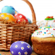Easter eggs, cake, basket — Stock Photo #14249641