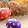 图库照片: Easter eggs in nest
