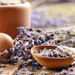 Pestle and mortar with lavender — Stock Photo