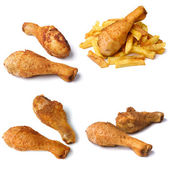 Chicken leg with french fries — Stock Photo