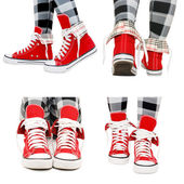 Red sneakers — Stock Photo