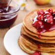 Delicious pancakes with raspberries — Stock Photo