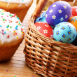 Easter eggs, cake, basket — Stock Photo #17411369