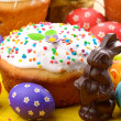 Stock Photo: Easter eggs, cake and bunny shape chocolate