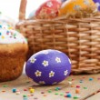 Easter eggs, cake, basket — Stock Photo #17873859