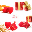 Red valentine hearts and gift box isolated on white background — Stock Photo