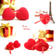 Red valentine hearts and gift box isolated on white background - Stock Photo