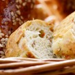 Bread in the wicker basket closeup — Stockfoto