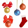 Christmas background with balls and bows over white  collage — Stockfoto