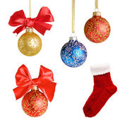 Christmas background with balls and bows over white collage — Stock Photo
