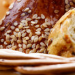 Bread in the wicker basket closeup — Foto de Stock