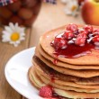 Stock Photo: Delicious pancakes with raspberries