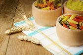 Raw tricolor pasta set — Stock Photo