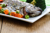 Trout with vegetables — Stock Photo