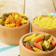 Raw tricolor pasta set - Stock Photo