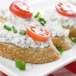 Cottage cheese bruschettas — Stock Photo