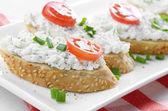 Cottage cheese bruschettas — Stock Photo