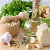 Ingredients for pasta pesto — Stock Photo