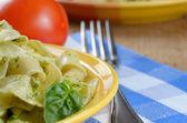 Pasta pesto closeup — Stock Photo