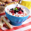 Cottage cheese in blue bowl — Stock Photo