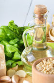 Raw Ingredients for pasta pesto — Stock Photo