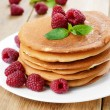 Ready to eat pancakes with raspberry — Stock Photo #30553401
