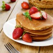 Ready to eat pancakes with strawberry — Stock Photo #34590171