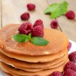Stock Photo: Ready to eat pancakes with raspberry