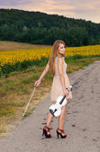 Woman stands with vilolin by country road — Stock Photo