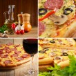 Pepperoni pizza with ingredients and wineglass collage — Stock Photo