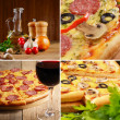 Stock Photo: Pepperoni pizzwith ingredients and wineglass collage