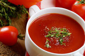 Rajčatová polévka gaspacho — Stock fotografie