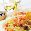 Stock Photo: Seafood spaghetti pastdish with shrimps